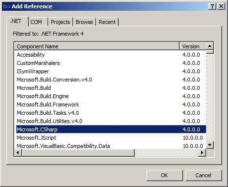 predefined type microsoft csharp runtimebinder binder is not
