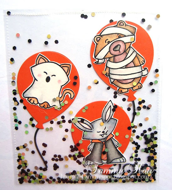 Shaker Halloween Card by Tammy | Boo Crew Stamp set by Newton's Nook Designs