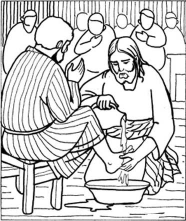 Portal Escuela Jesus lava los pies a sus apostoles. Dibujo para colorear