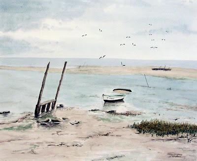 aquarelle-Oléron-marée basse