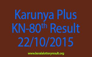 Karunya Plus KN 80 Lottery Result 22-10-2015