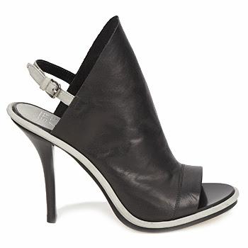 Modern black and white, monochrome peep toe slingback shoes