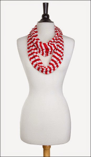 Christmas Clothing - Candy Cane Striped Red & White Infinity Scarf.