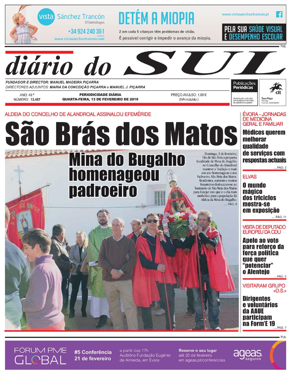 .Festa do dia 03 de Fevereiro em Honra de São Brás dos Matos faz capa no Jornal Diário do Sul.