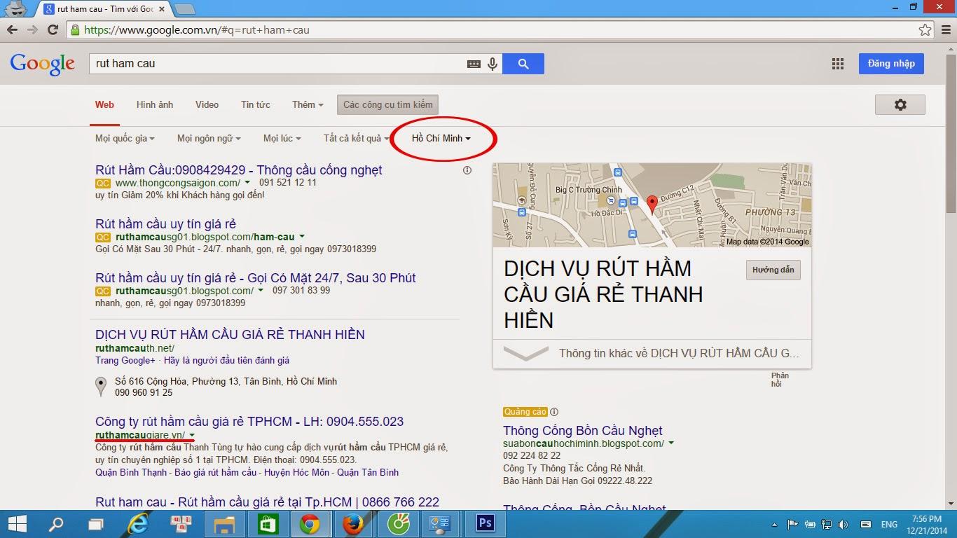 Kết quả tìm kiếm tự nhiên của Google phụ thuộc vào vị trí