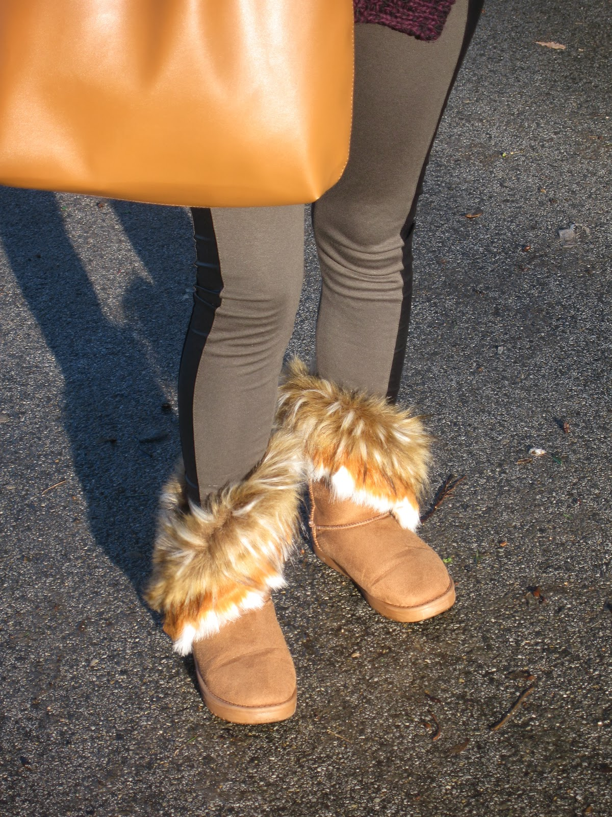 fur boots, military leggings