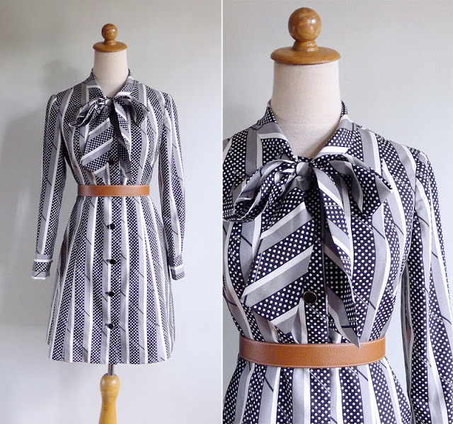 vintage 70's black & white stripes & dots shift dress