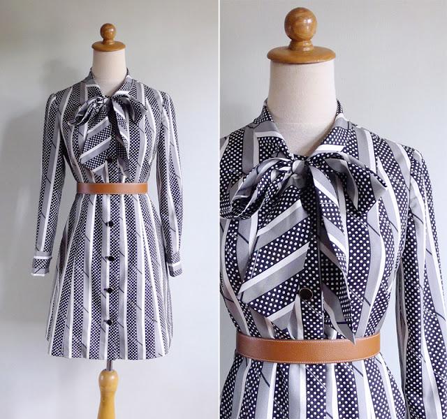 vintage 70's black & white stripes & dots shift dress