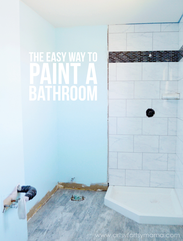 The Easy Way to Paint a Bathroom at artsyfartsymama.com