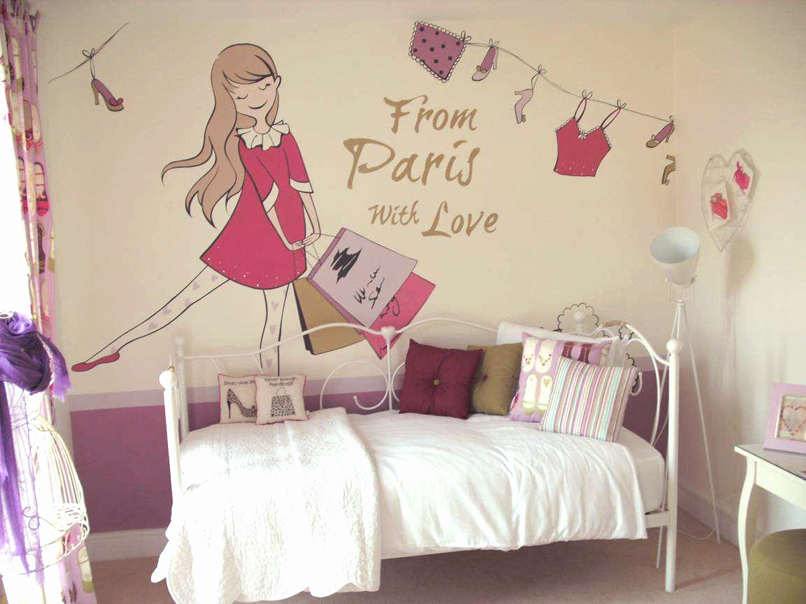 Paris Girls Bedroom Watch More Like Paris Mural For Girls Room