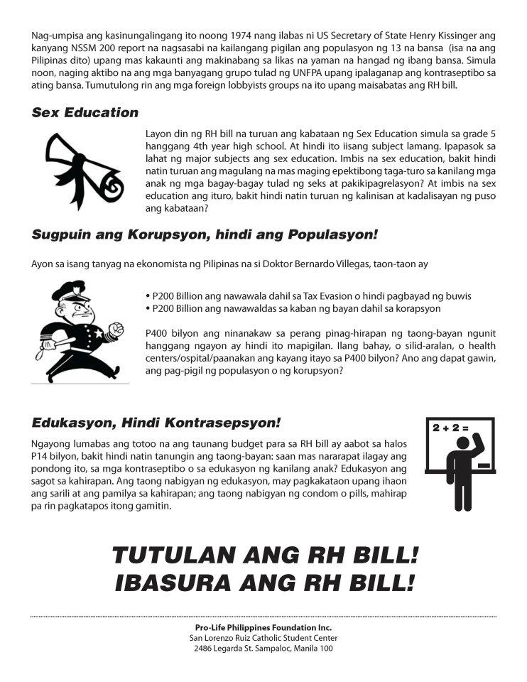 tula tungkol sa rh bill tagalog The responsible parenthood and reproductive health act of 2012 (republic act  no 10354), informally known as the reproductive health law or rh law, is a   these preventable deaths could have been avoided if more filipino women.