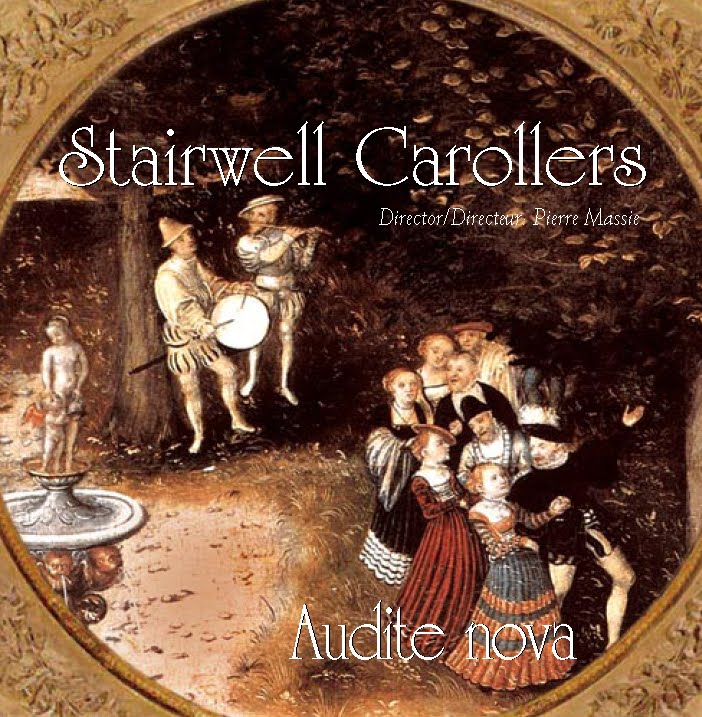 CD cover Audite Nova, a selection of favourite Renaissance madrigals sung by The Stairwell Carollers