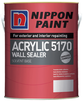 Great for sealing chalky and powdery surfaces! Nippon Acrylic 5170 Wall Sealer is a vinyl acrylate solvent-based sealer. It is specifically formulated to protect the finishing coats against the effects of alkalinity and moisture from the walls. Nippon Acrylic 5170 Wall Sealer is best used on interior and exterior walls, brickwork, plaster and asbestos-free substrates. Highlights of this product include: • Promotes better adhesion • Good alkaline and efflorescence resistance • Good for chalky and powdery surfaces • For interior and exterior use