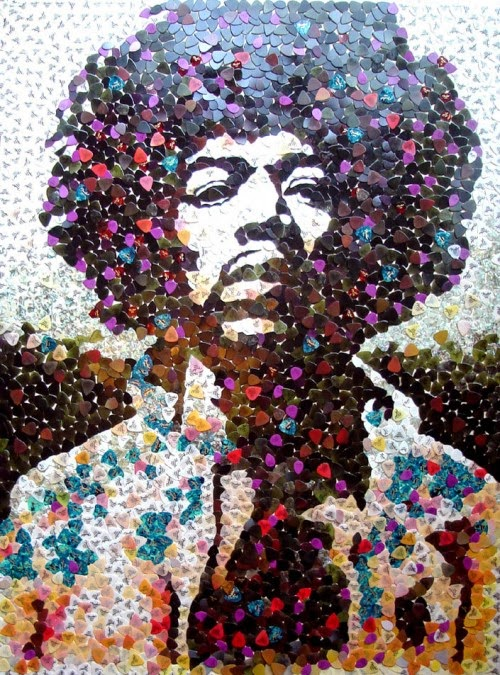 Portrait of Jimi Hendrix Made out of Guitar Picks