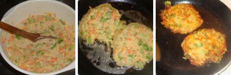 Makkelijk aardappelpannenkoeken recept om te koken met restjes van wortel en broccoli