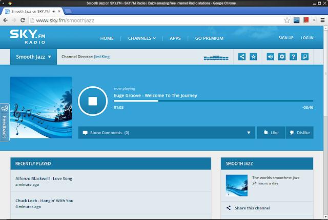 SKY.FM 瀏覽器播放視窗
