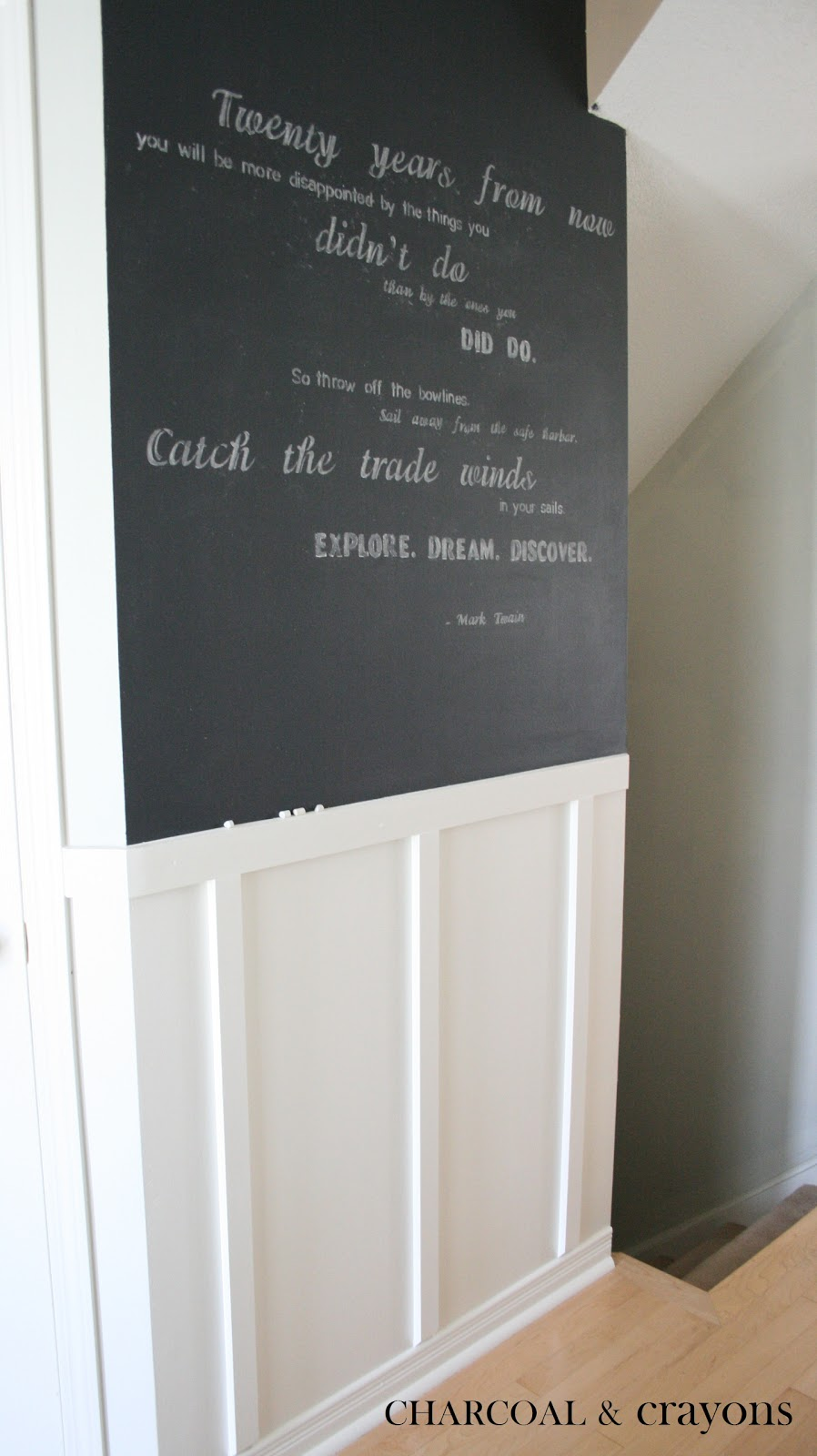 charcoal and crayons our chalkboard wall. Black Bedroom Furniture Sets. Home Design Ideas