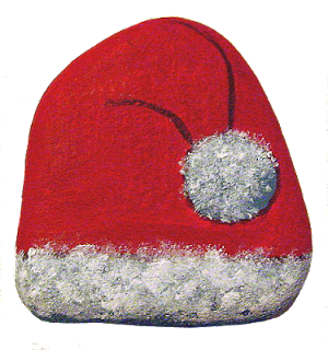 painted rocks, Santa, hat, fleece
