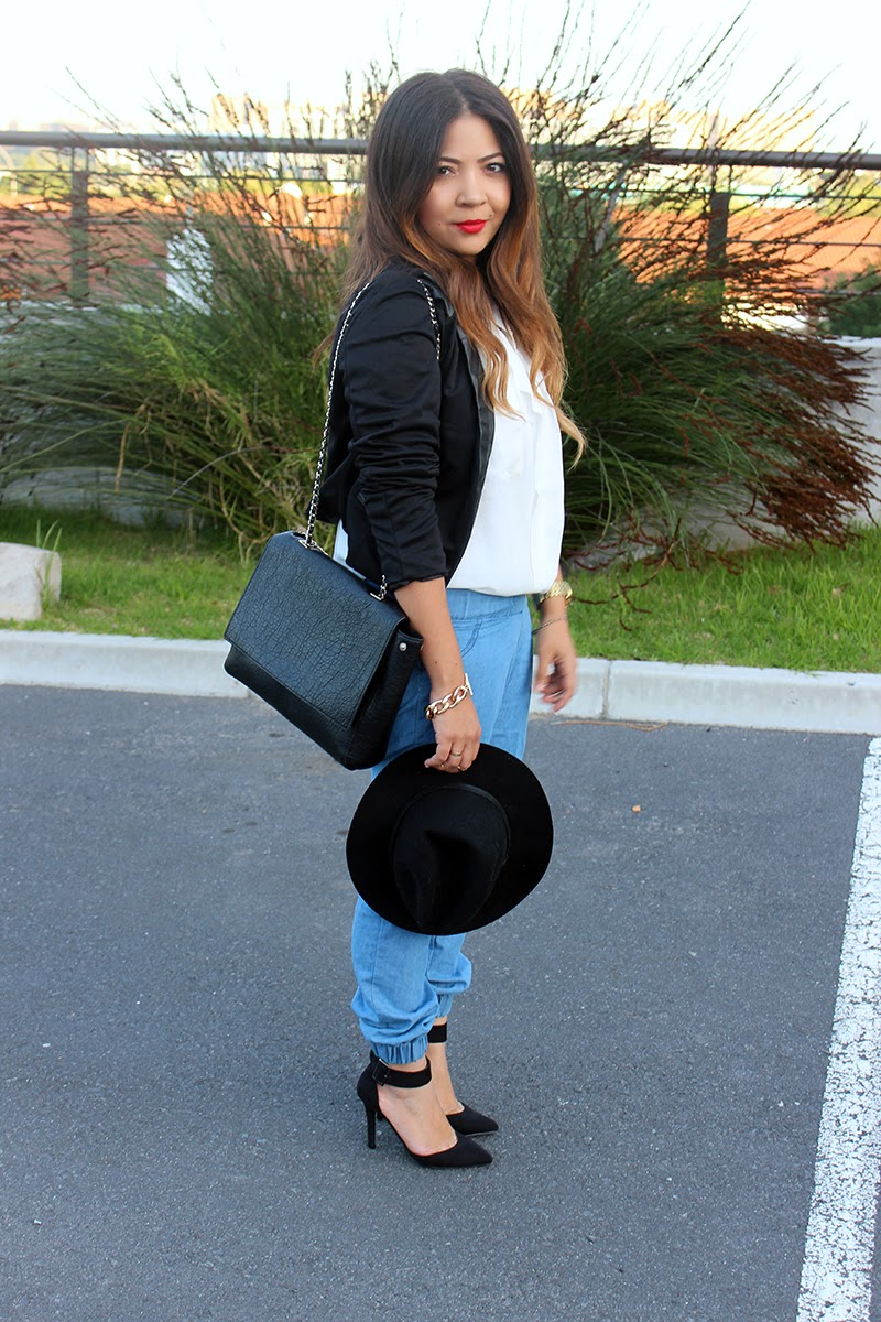 denim joggers, black blazer, winter fashion, felt hat, gold jewellery, fashion blogger cape town, ombre hair curls, laiqah ally, lucky loves
