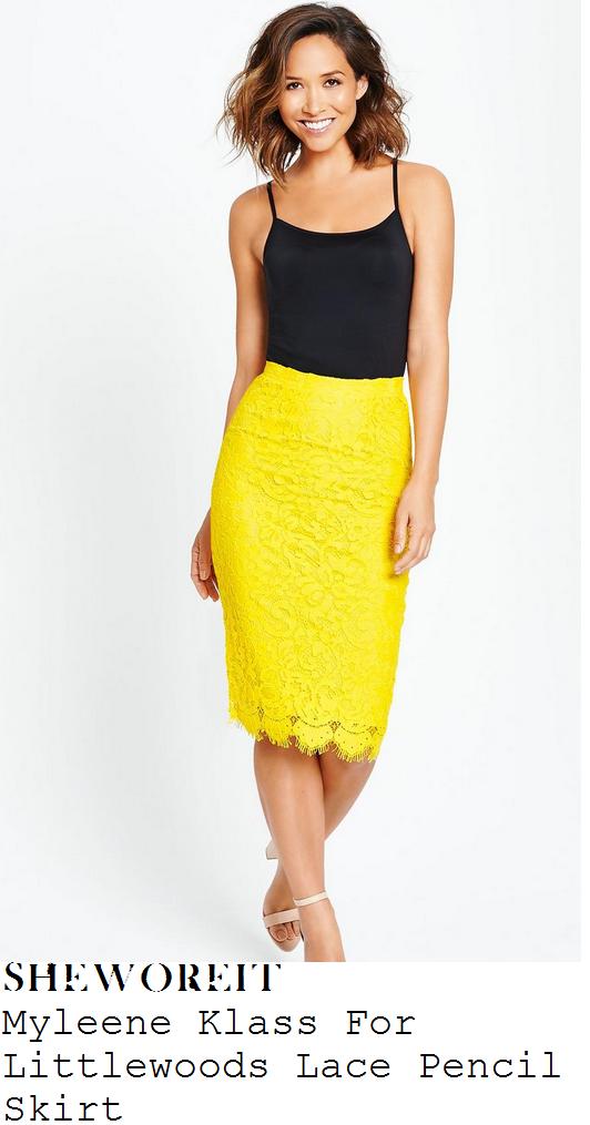 myleene-klass-yellow-lace-pencil-skirt