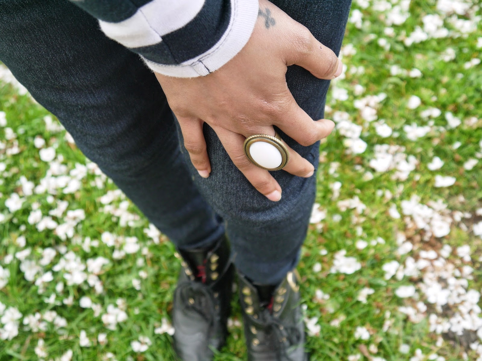 White and Green Statement Ring