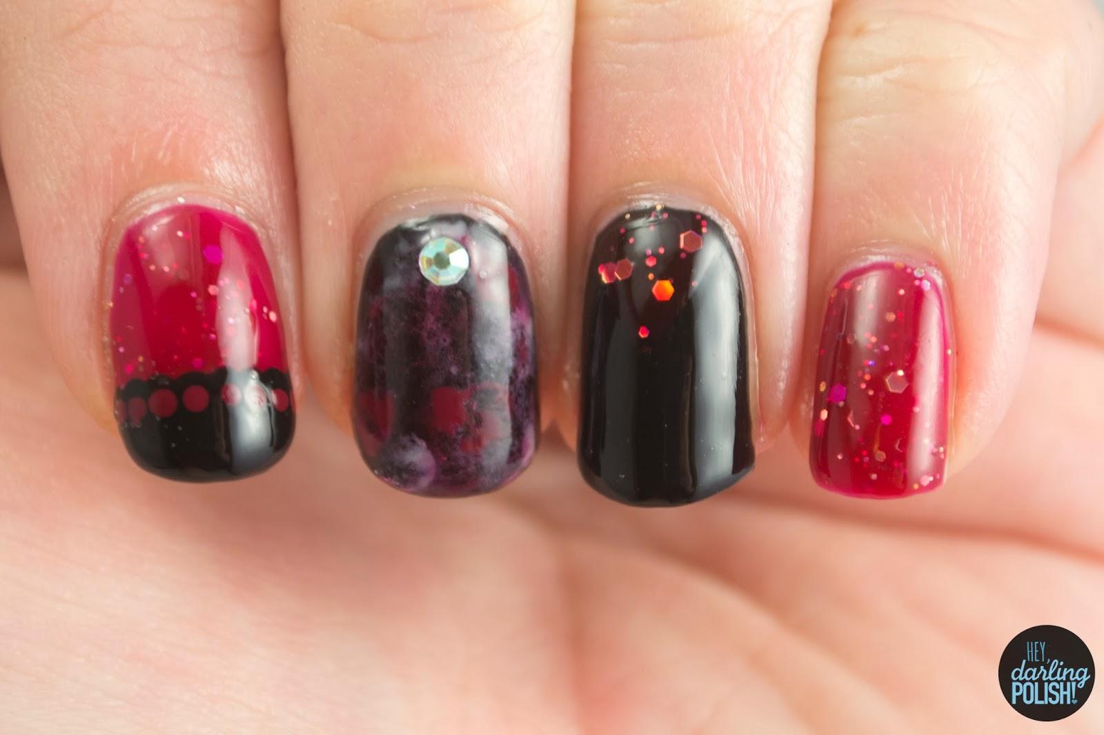 nails, nail polish, nail art, polish, red, black, shirley ann nail lacquer, hey darling polish