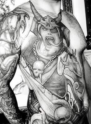 tattoos de samurai com tigres e carpas sombreados