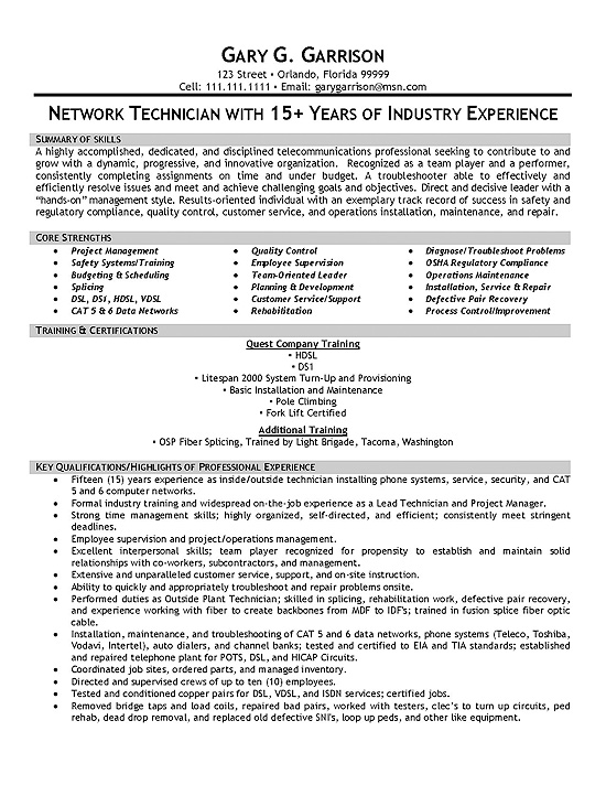 resume samples telecommunication consultant resume