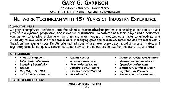 resume samples  telecommunication consultant resume