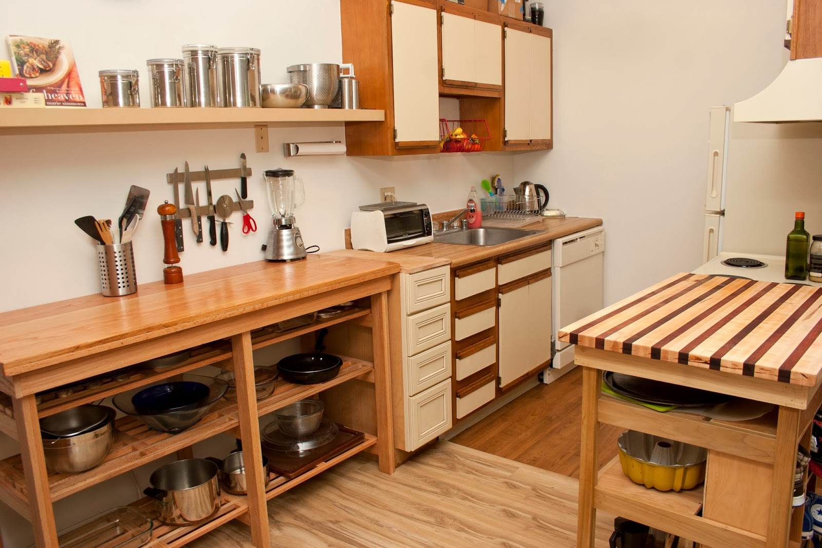 The First Piece Is A Cutting Board Counter Top (much Like The One He Made  For Our Last Kitchen) Which Has A Space For The Trash Can, And Shelves For  Some Of ...