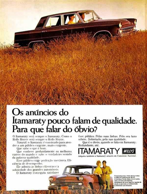 Propaganda do Itamaraty Willys: sofisticação e glamour para os anos 60.
