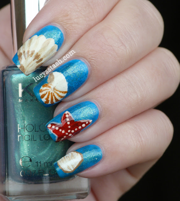 Sea Shells nail art manicure with KIKO polishes