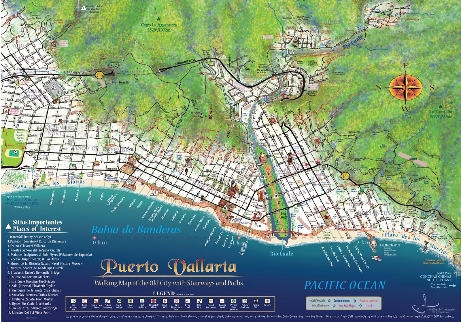puerto vallarta maps. mapa jeff cartography puerto vallarta maps