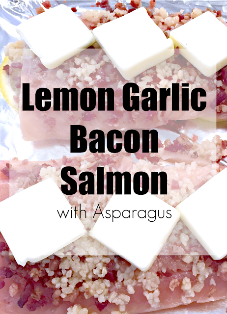 Lemon Garlic Bacon Salmon, Easy Salmon Recipes, Salmon and Bacon recipes, Salmon and garlic recipes, Asparagus recipes, how to cook salmon, how to cook asparagus, asparagus and parmesan, asparagus and bacon