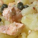 Salade tiède de pommes de terre et saumon