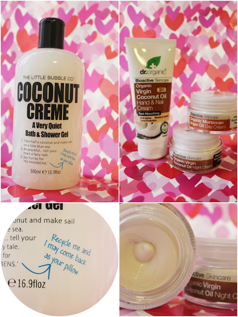 Image of The Little Bubble Co. Coconut Creme bath and shower gel and Dr. Organic hand, day and night creams
