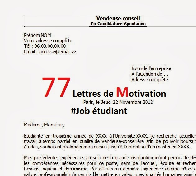 77 lettres de motivation job  u00e9tudiant