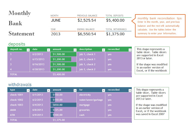 monthly bank statement template
