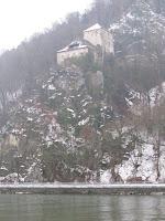 Castle now a hotel on huge rock over Danube River