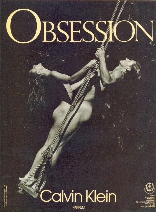 Propaganda para promover o perfume Obsession, da Calvin Klein, em 1992.