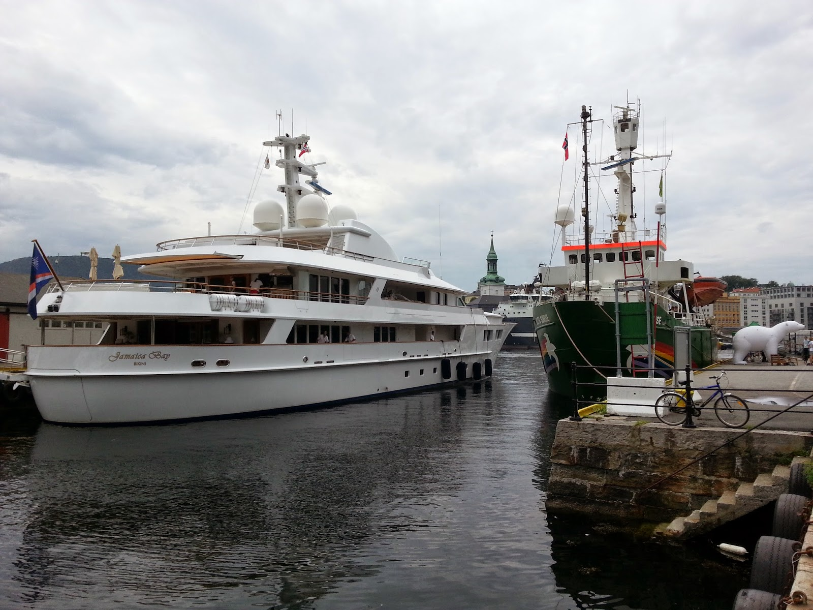 Superyacht MY Jamaica Bay alongside in Bergen, Norway