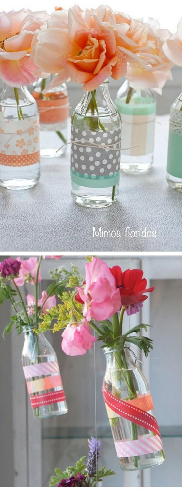 garrafas de flores-washi tape