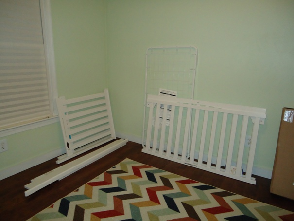 White crib pieces for the nursery DIY