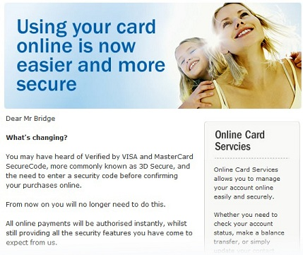Mark bridge when it comes to credit card security apparently less mbna my credit card issuer has sent me an email saying its dropping the mastercard securecode 3d secure scheme this is the security procedure that asks reheart Gallery