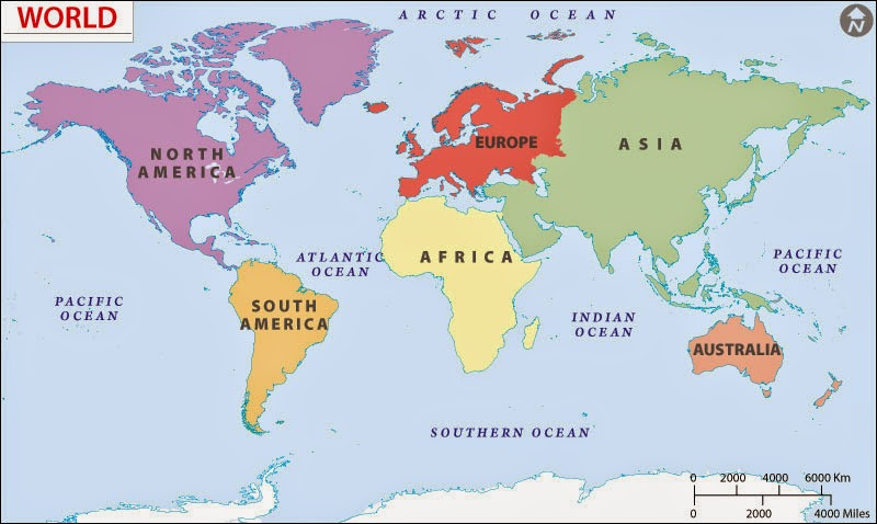 Aspirantsclass General Awareness Geography Notes - Major oceans of the world map
