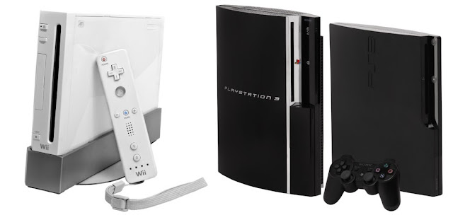 Wii console and Remote standing next to PS3 consoles with controller