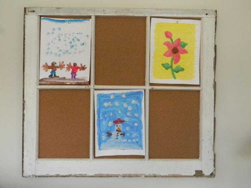 Home Joys: Window Frame Cork Board