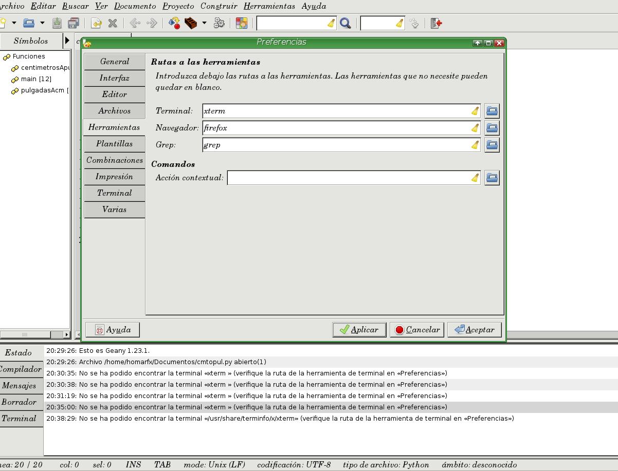 forma incorrecta de geany error no se ha podido encontrar la terminal xterm en geany