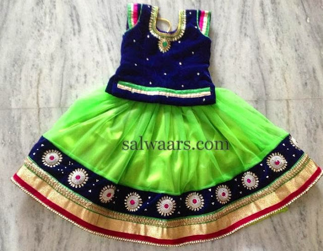 Light Green and Blue Lehenga