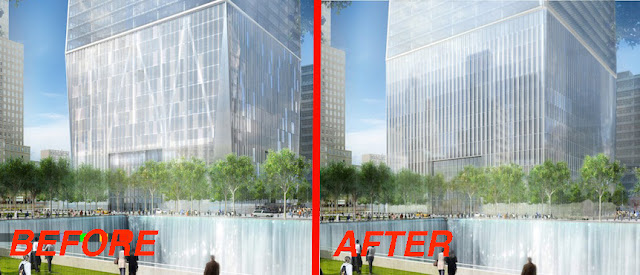 Rendering of redesigned base at One World Trade Center by Skidmore, Owings & Merrill LLP (SOM)